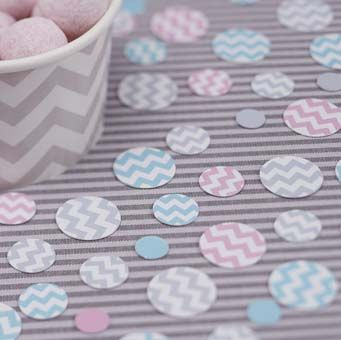 This stunning pastel chevron design confetti. Scatter on the table to finish off the set up.