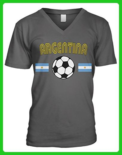 Amdesco Men's Argentina Soccer, Football, Argentine Flags V-Neck T-Shirt, Charcoal Grey Medium - Sports shirts (*Amazon Partner-Link)