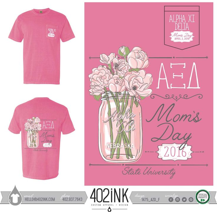 #402ink #402style 402ink, Custom Apparel, Greek T-shirts, Sorority T-shirts, Fraternity T-shirts, Greek Tanks, Custom Greek Apparel, Screen printed apparel, embroidered apparel, Sorority, AZD, Alpha Xi Delta, Family Day, Mom's Day Design, Floral Design, Comfort Colors