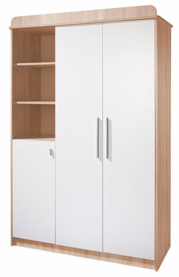 Roba Kleiderschrank Lena 3 Turig Eiche Sagerau Weiss Online Kaufen Tall Cabinet Storage Storage Cabinets Locker Storage