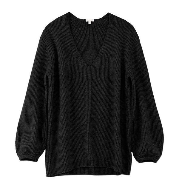 Oversized Ribbed V Neck Sweater ($195) ❤ liked on Polyvore featuring tops, sweaters, heart sweaters, low v neck sweater, over sized sweaters, low v neck tops and oversized heart sweater