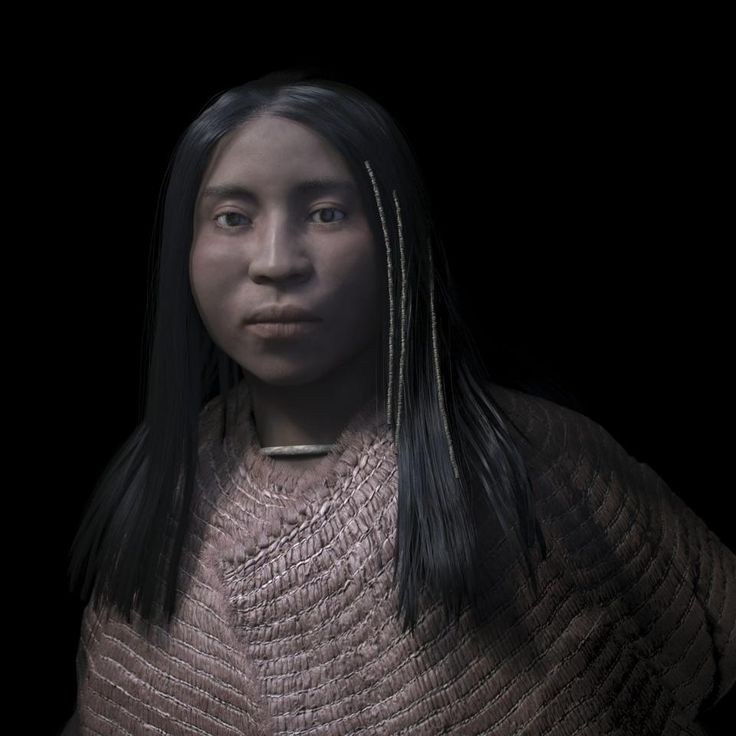 3D forensic facial reconstruction of a high status shíshálh woman who lived nearly 4,000 years ago. She was buried with thousands of stone and shell beads, some of which were beaded into her hair.