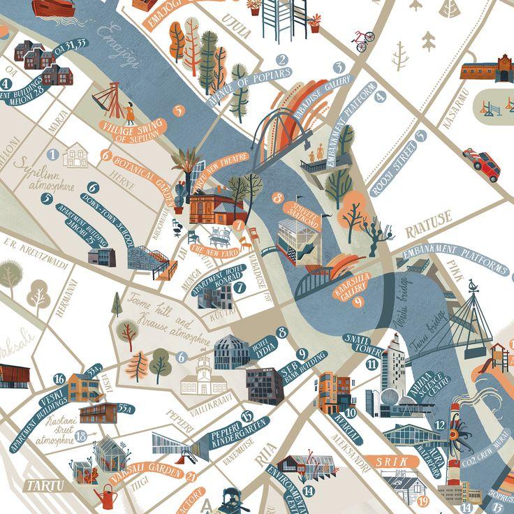 Popatrz Na Ten Projekt W Behance Map Of Tartu For The Urban