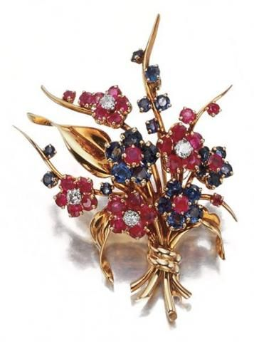 Gold, Platinum, Diamond, Ruby and Sapphire Bouquet Brooch for Sale at Auction on Wed, 09/24/2008 - 07:00 - Important Estate Jewelry   Doyle Auction House