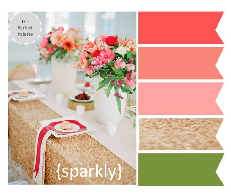 {The Perfect Palette}: Shades of Coral + Sparkly Gold http://www.theperfectpalette.com/2012/11/the-perfect-palette-3-wedding-tabletops.html