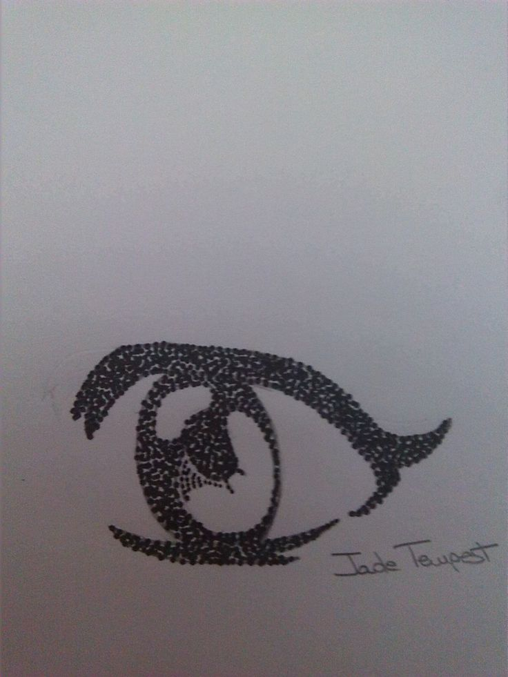 Eye 4. I potraited this by an image I found in Internet. I used a pencil and the china pen. Technique: Pointillism.