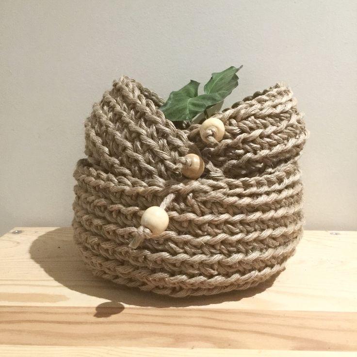 Jute crochet baskets! perfect storage solution!