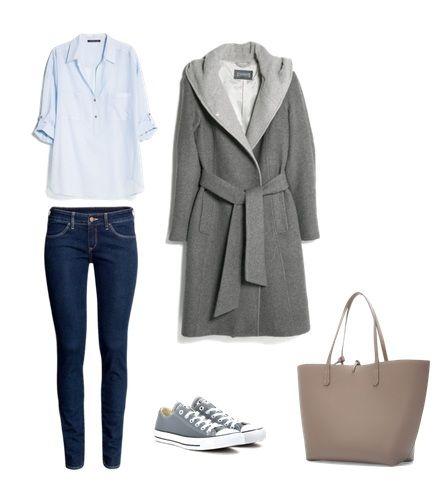 Sylwetka W: Bluzka, płaszcz Mango Spodnie H&M Torba Zara Buty Converse