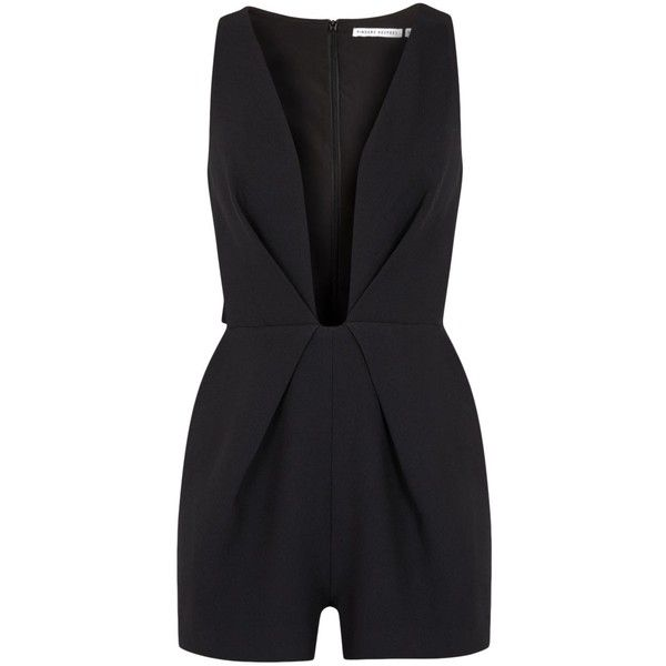 Womens Playsuits Finders Keepers The Creator Black Crepe Playsuit (€160) ❤ liked on Polyvore featuring jumpsuits, rompers, romper, playsuit, bodysuit, dresses, jumpsuit, romper jumpsuit, finders keepers romper und black romper jumpsuit