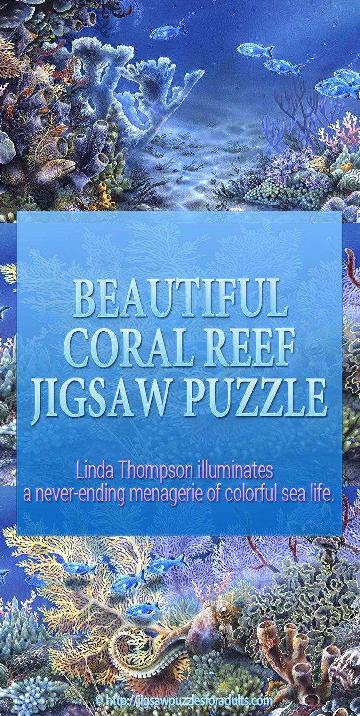 Coral Reef Jigsaw puzzle is a wonderful puzzle by artist Linda Thompson who has a talent of illuminating a never-ending menagerie of colorful sea life. In this jigsaw puzzle you can share her genuine love and concern of marine life.