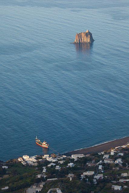 Lighthouse off the coast of Stromboli, Sicily, Italy