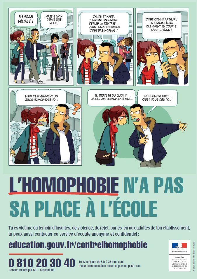 Le ministère de l'Éducation nationale, de l'Enseignement supérieur et de la Recherche lance ce lundi 14 décembre 2015 une nouvelle campagne nationale destinée à informer et sensibiliser les collégiens, lycéens, étudiants et l'ensemble des membres de la communauté éducative aux violences et discriminations à caractère homophobe dont souffrent encore trop de jeunes.