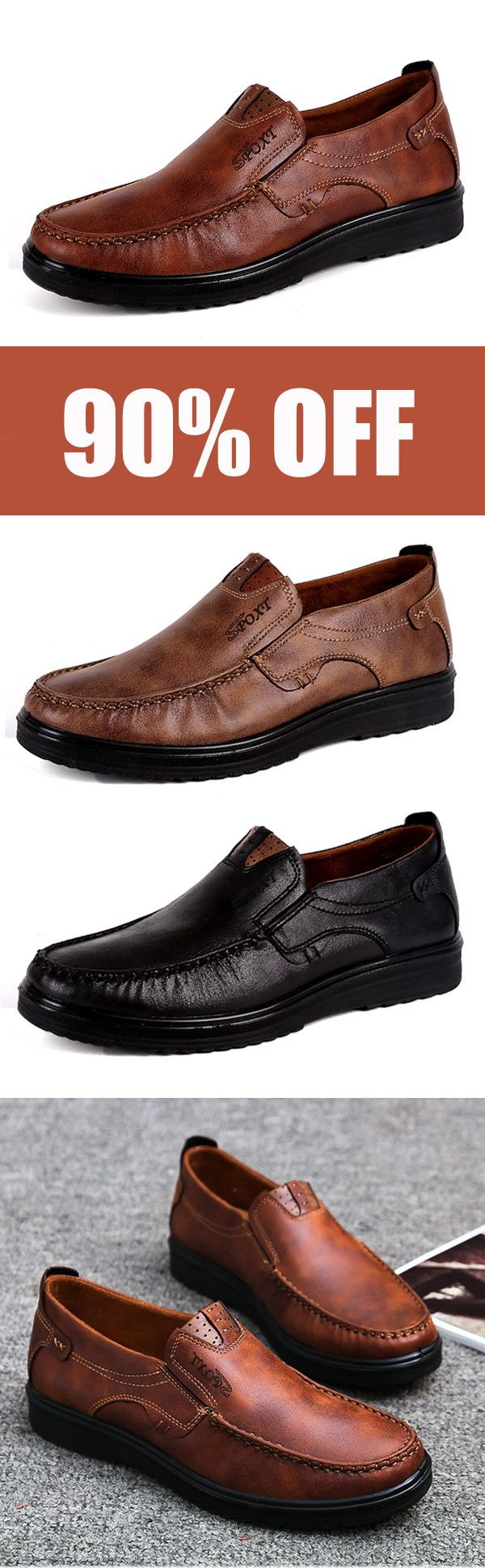 Large Size Men Comfy Casual Microfiber Leather Oxfords Shoes. #mens #fashion