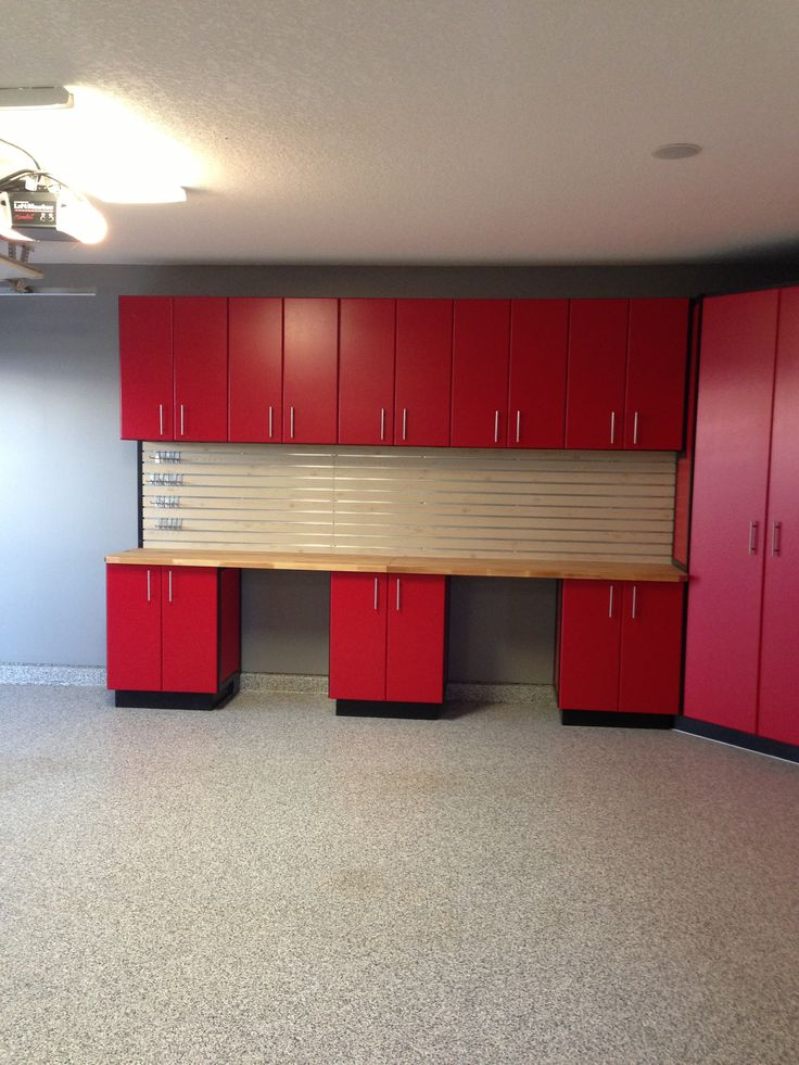 Custom Garage Epoxy Floor Designs: Calgary, Garage, Slotwall, Butcher Block