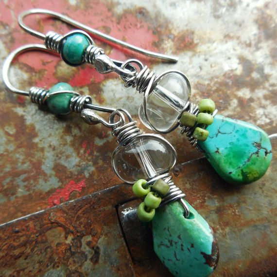 Turquoise Drop Sterling Silver Earrings Green Blue Lime Wire Wrapped Dangle Clear Glass