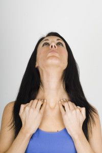 3. Giraffe: to tone and lift the neck area.  faceyoga3     Looking straight ahead place your finger tips on the top of your neck and pull the skin down as you tilt your head back. Bring your head back down and repeat twice more. Then jut your lower lip out as far as possible, place your fingers on your collarbone and point your chin upwards, pulling the corners of your mouth down. Hold for 4 deep breaths.