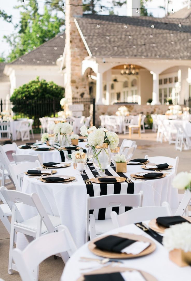 Black & White & Fresh  Rectangle Table CenterpiecesGold Wedding ...