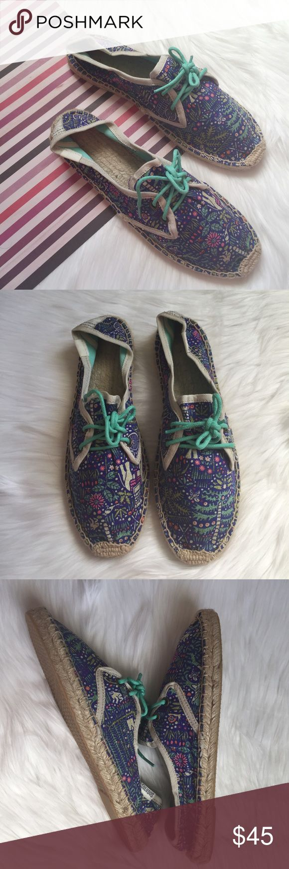 """(NEW) Soludos Derby Lace up Espadrille Size 38 New without box, Women's lace up espadrilles, textile upper, braided jute trim midsole, rubber sole, .5"""" sole height, Multicolor. Please feel free to ask questions. No trades. Soludos Shoes Espadrilles"""