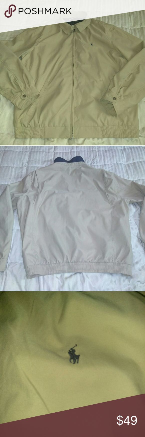 Large ralph lauren polo jacket men l xl m NWOT Large Polo jacket worn once to big on me paid $125 from Macy's soft outside really really nice khaki colored windbreaker weatherproof jacket Polo by Ralph Lauren Jackets & Coats