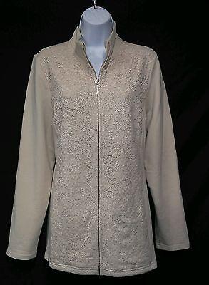 D & Co. Active NEW Beige Zip Up Dressy Sweat Jacket Ladies L