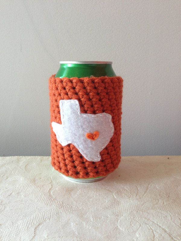 UT Austin University of Texas Longhorns Crochet State Beer Coozie, Beer Koozie, Coffee Cup Cozy, Reusable Coffee Sleeve by Maroozi by Maroozi on Etsy
