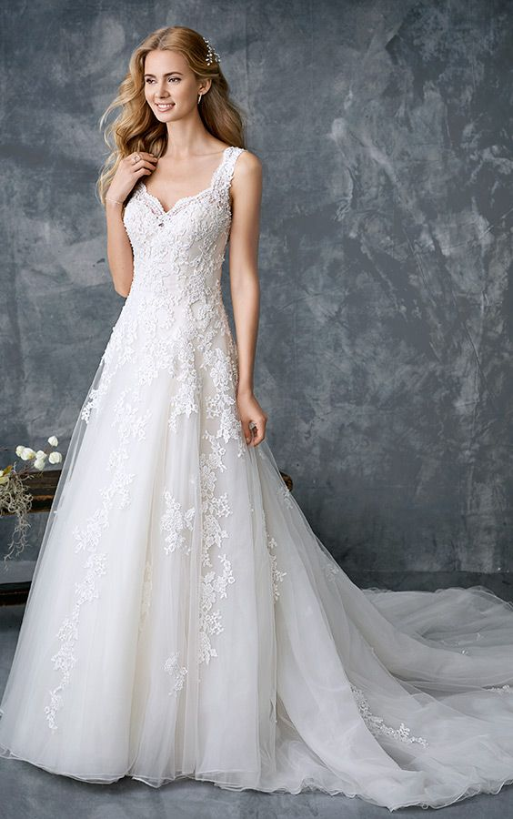 Kenneth Winston 1769 | classic lace ball gown | with sweetheart neckline | lace thick straps | romantic wedding gown