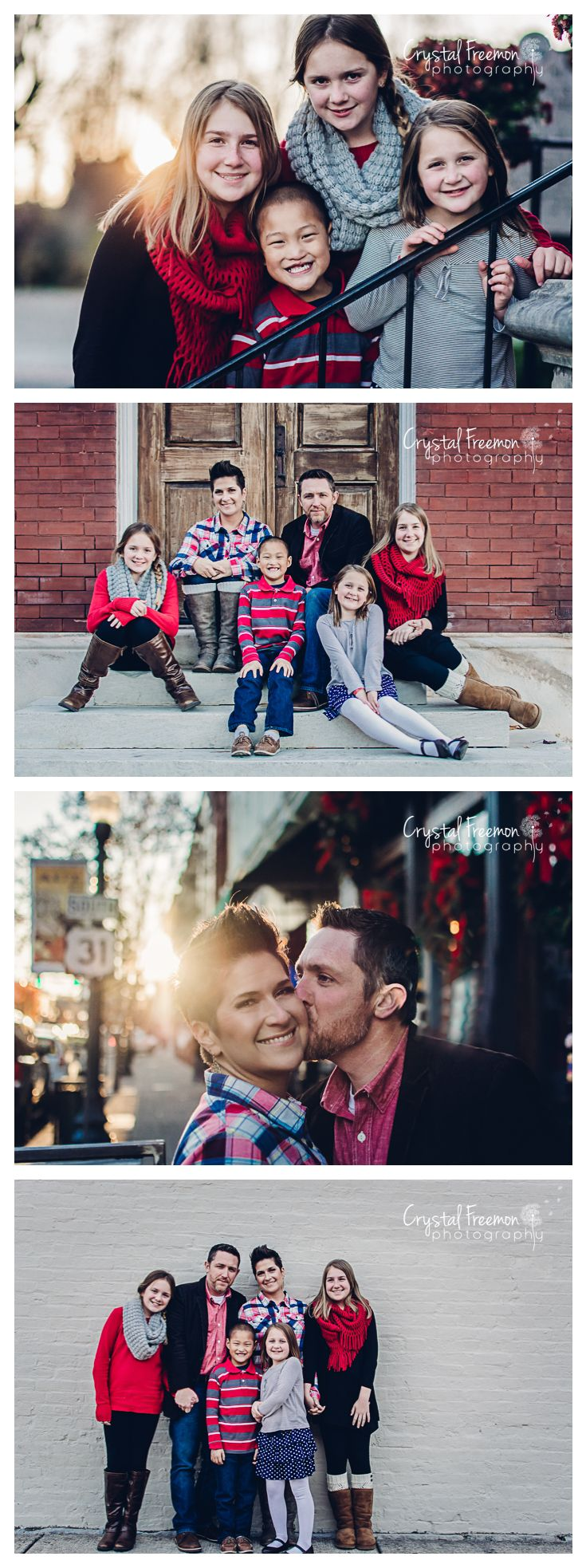 Family of six photo session in downtown Franklin, TN. Beautiful brick, historic streets, gorgeous architecture. Not recommended for very young children or Saturdays.