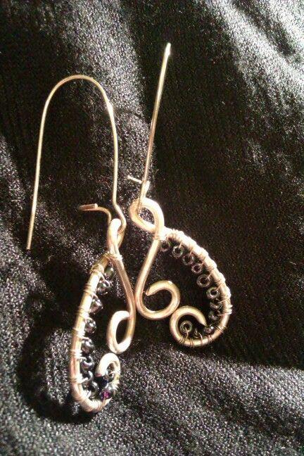 Wire earrings /  Kolczyki plecione #earrings #wire #kolczyki