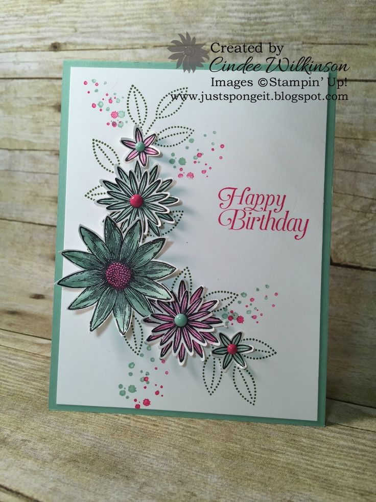 by Cindee: Grateful Bunch, Timeless Textures, Sky is the Limit for the sentiment (SAB), It's My Party Enamel Dots, Blossom Bunch Punch - all from Stampin' Up!