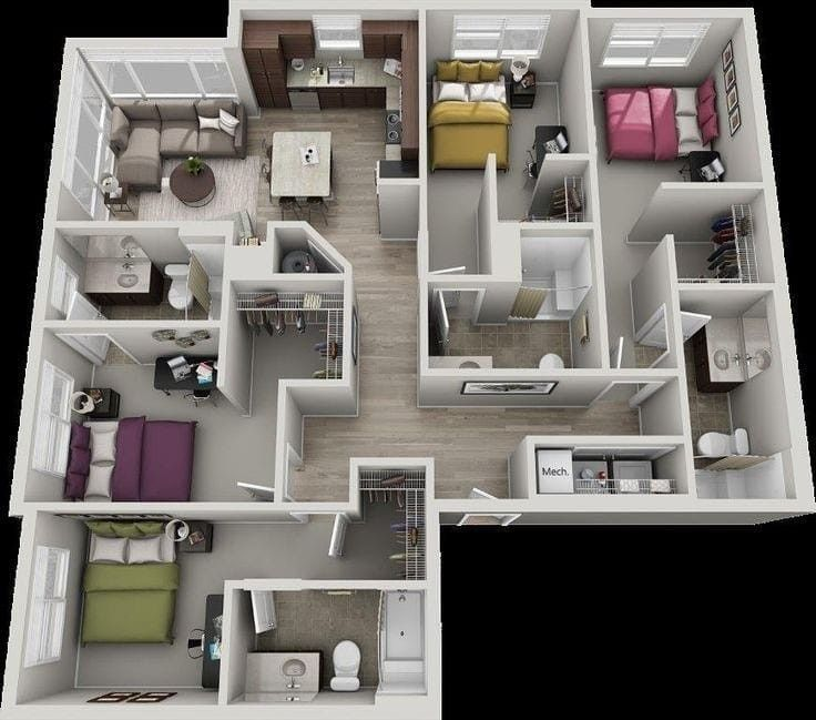 3d Floor Plan Layout House Layout Plans Small House Design Plans Architectural House Plans