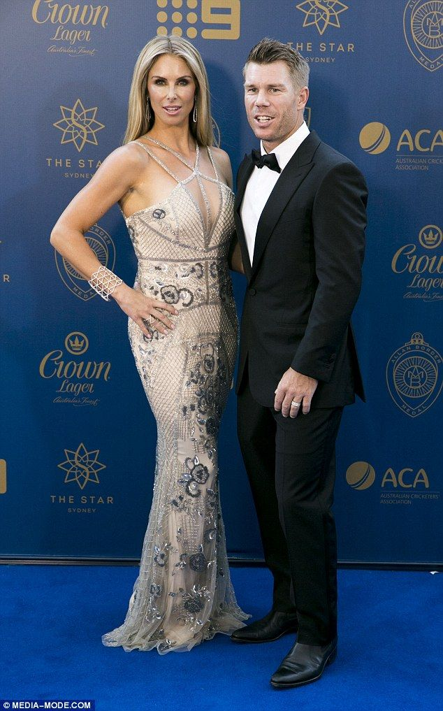 Stunning in silver: Candice Warner was certainly centre of attention as she arrived on the blue carpet at the Allan Border Medal at The Star in Sydney on Monday night to support her cricketer husband David Warner