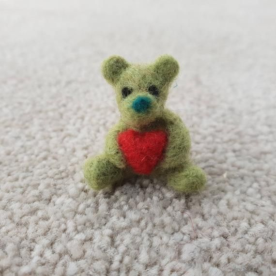 Check Out This Item In My Etsy Shop Https Www Etsy Com Uk Listing 691828855 Miniature Green Bear Tiny Bear Wit Green Bear Dollhouse Miniatures Needle Felting