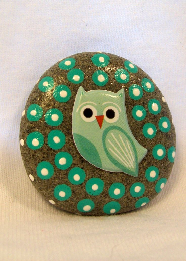 Sticker and Painted Beach Stone by Jessica Newton