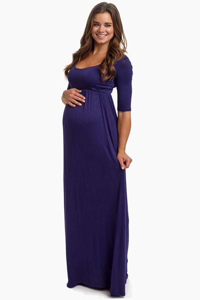 Navy-Blue-3/4-Sleeve-Maxi-Dress