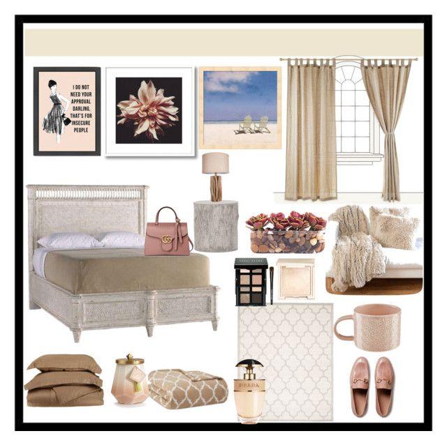 """Casa, colori rilassanti"" by delfino-rosim ❤ liked on Polyvore featuring Stanley Furniture, Madison Park, Safavieh, Murmur, Illume, Gucci, John-Richard, Bobbi Brown Cosmetics, Jouer and Prada"