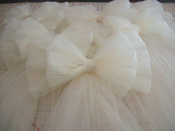 Tulle Pew Bow Tulle Wedding Formal Aisle Decor by OneFunDay, $14.25