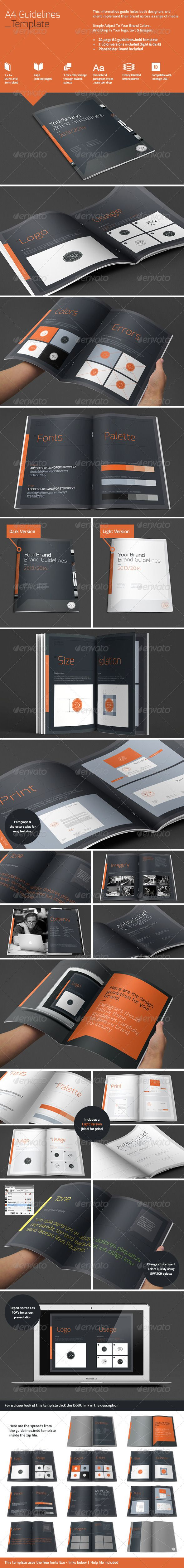 A4 Brand Guidelines — Vector EPS #print #brand guidelines • Available here → https://graphicriver.net/item/a4-brand-guidelines/4825619?ref=pxcr