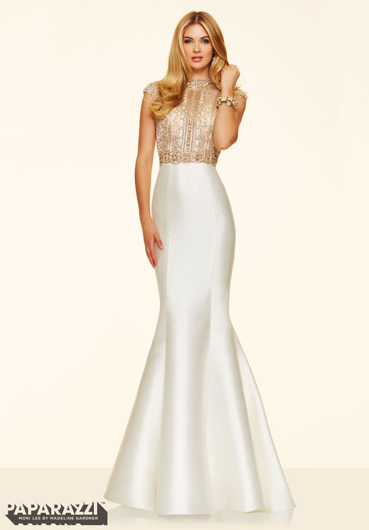 Prom dresses by Paparazzi Prom Beaded Net on Larissa Satin Zipper Back Closure. Colors Available: Cream/Gold