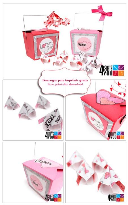 Caja comida china de papel con galletas de la suerte / Chinese food box of paper with fortune cookies