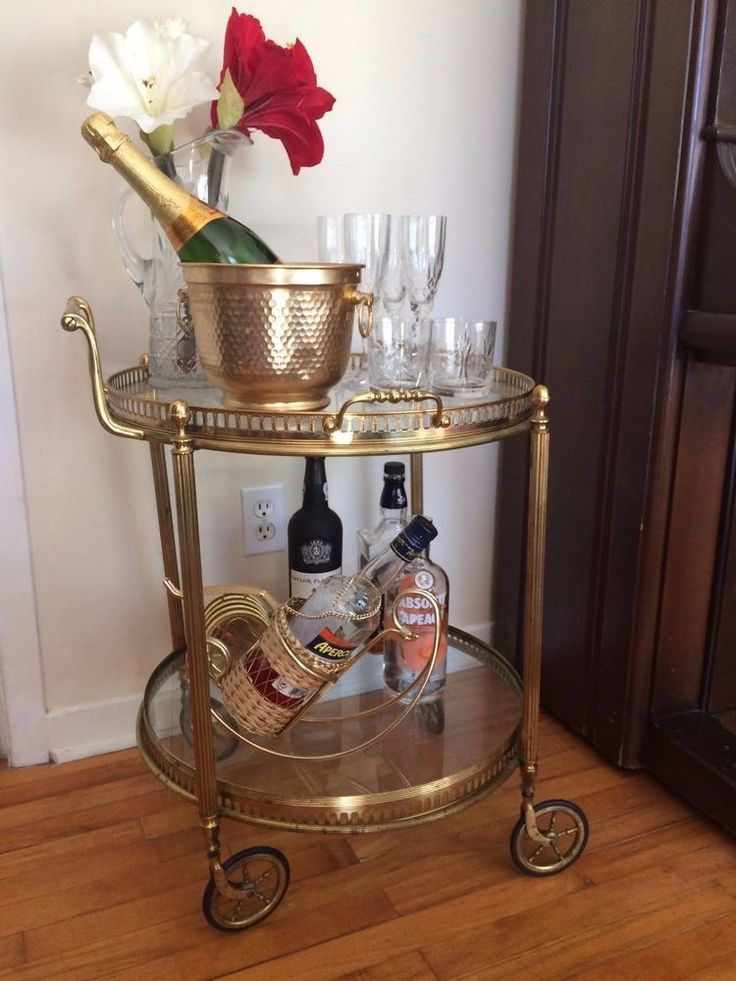 Vintage French Rolling Bar Cart Hollywood Regency Two Tier Brass Bar Cart