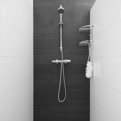 idee voor douche (donkere tegels in combinatie met lichtere tegels)