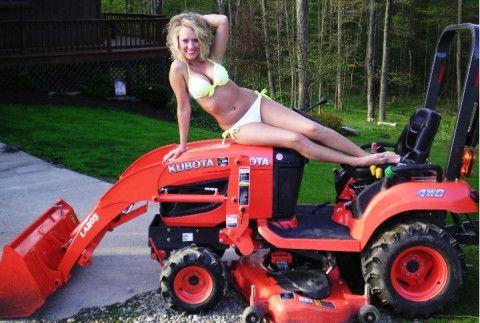 Tits! lawn mower bikini good