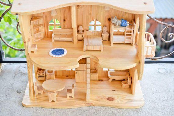 Casa delle bambole in legno * senza mobili *. Regalo di Natale. Giocattoli di Montessori waldorf. , Illuminazione casa. multi-storey house, appartamenti per i giocattoli