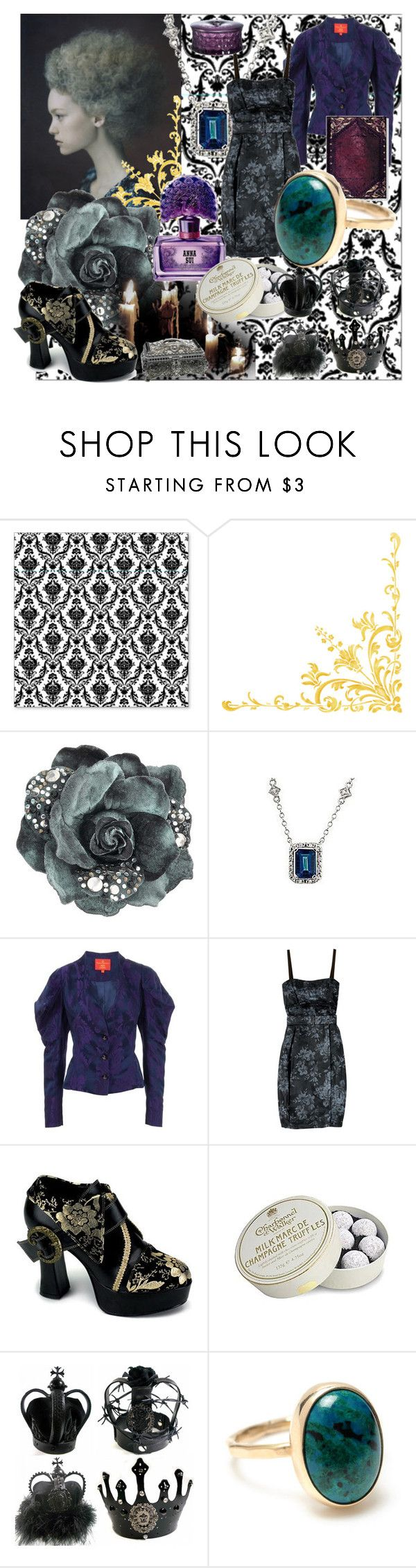 """""""no name"""" by annanoire ❤ liked on Polyvore featuring Miss Selfridge, Vivienne Westwood Red Label, Vera Wang, Anna Sui, Cristal D'Arques, Charbonnel et Walker, Melissa, queen and brocade"""