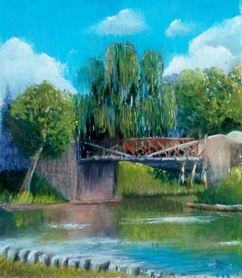 Vu de Cercy la Tour, Nièvre, Pastel 30 x 40 cm