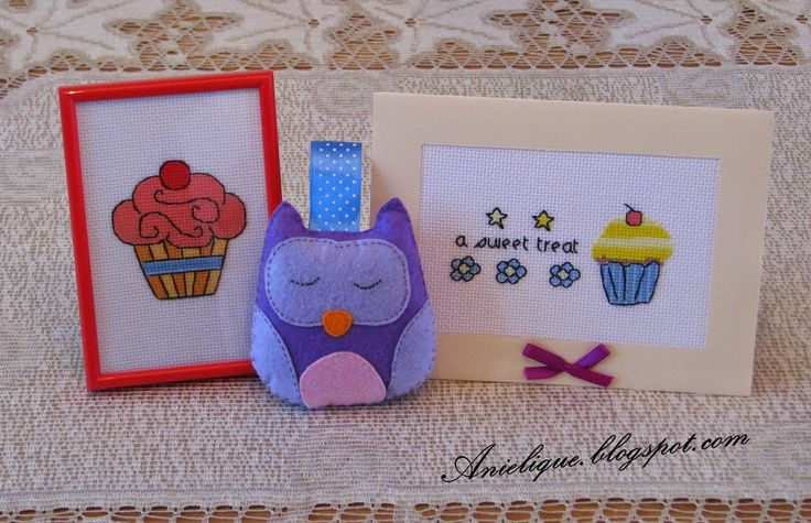 cupcakes, card, owl toy, cross stitch