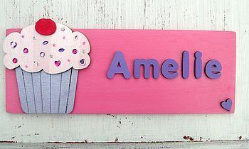 personalised wooden door sign: cupcake by dream scene children's gifts | notonthehighstreet.com