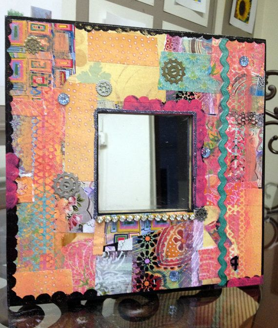 One Of A Kind Decoupage Mirror Funky Wall Mirror Mirror