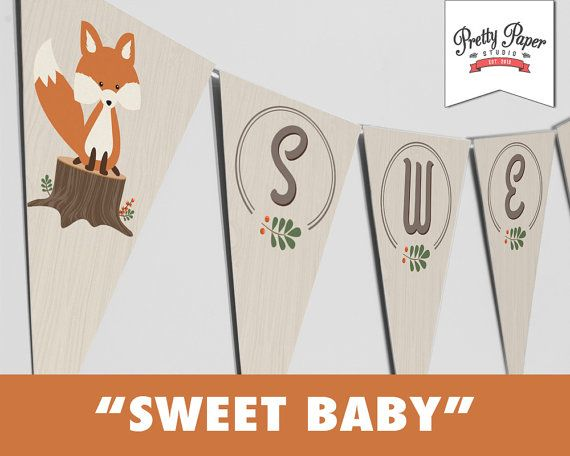 Sweet Baby Woodland Banner // INSTANT DOWNLOAD // Gender Neutral Baby Shower Bunting // Fox Shower Decor // Printable DIY by ThePrettyPaperStudio, $9.00