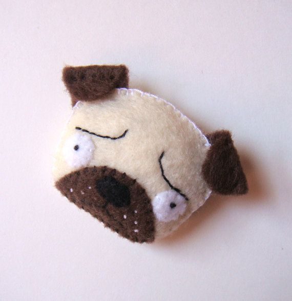 Pug Dog Brooch Felt Animal Pin Vanilla Cream White by mikaart
